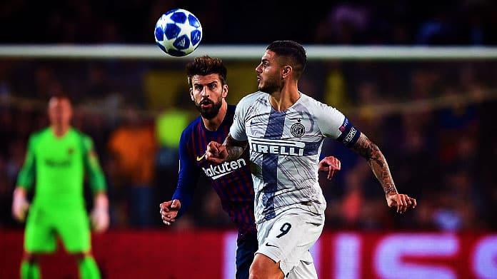 Pique contro Icardi nella partita di andata tra Barcellona ed Inter