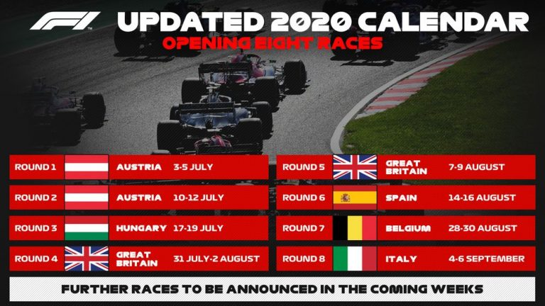 Il calendario della formula Uno 2020
